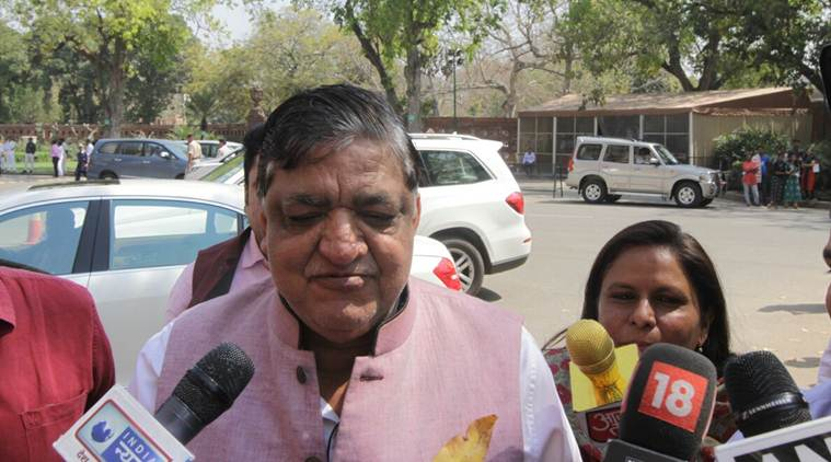 Naresh Agrawal quit the Samajwadi Party and formally joined the BJP in New Delhi after he lost out his Rajya Sabha re-nomination to Jaya Bachchan. (Source: Express photo by Praveen Jain)