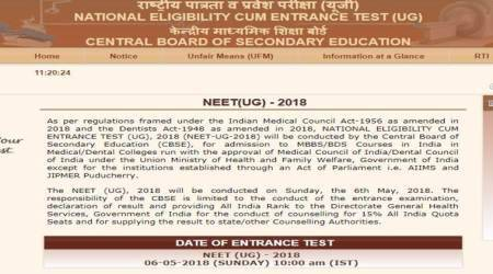 NEET 2018 admit card released at cbseneet.nic.in, exam on May 6
