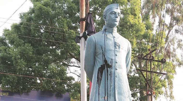 Black ink thrown at Jawaharlal Nehru statue