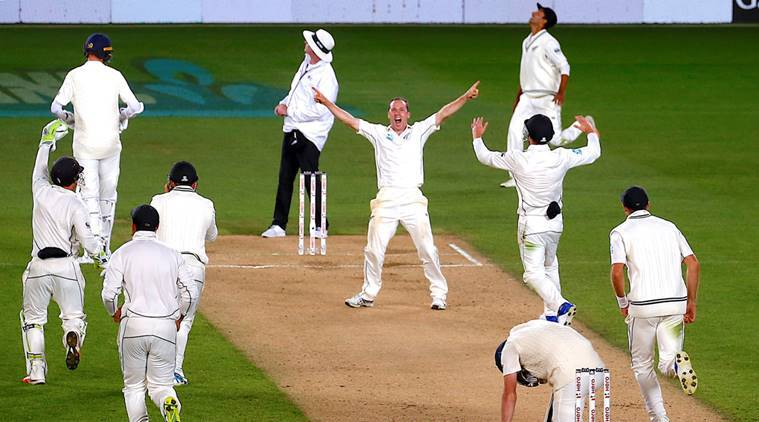 New Zealand players celebrate first Test win over England