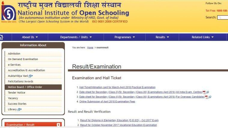 NIOS hall ticket, NIOS exams hall tickets, nios.ac.in
