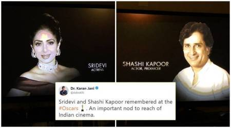 oscars 2018, academy awards, oscar awards, oscar winners, academy awards 2018, sridevi, shashi kapoor, sridevi oscar tribute, shashi kapoor oscar tribute, indian express, indian express news