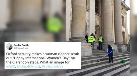 Oxford University apologises after viral photo of female workers cleaning Women's Day sign irk Netizens