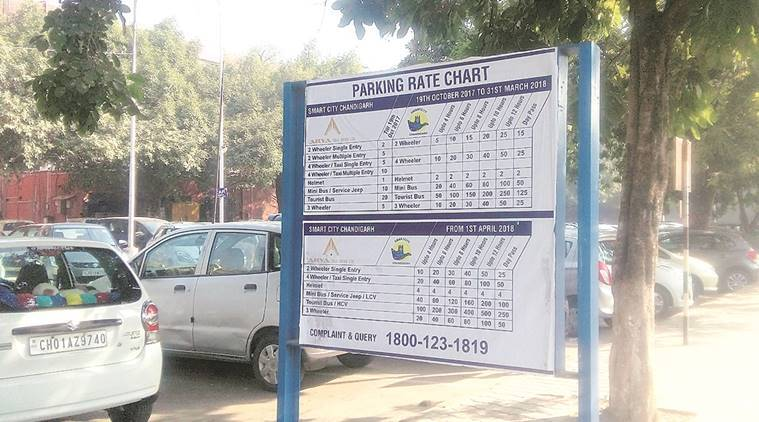 chandigarh, parking rates, parking fees hike, chandigarh parking rate revised, chandigarh municipal crop, indian express