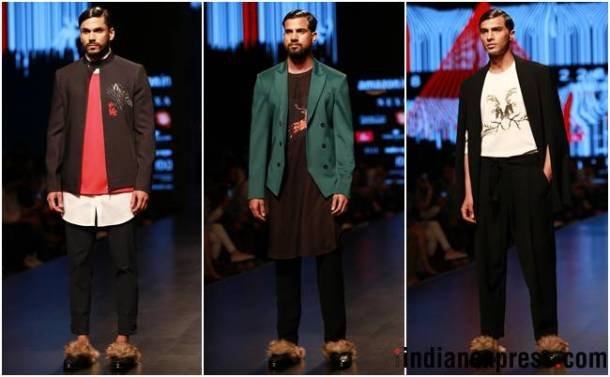 Amazon Fashion Week 2018, AIFW 2018, Bipasha Basu, Kartik Aaryan, Rahul Singh, Saaj by Ankita, Pawan Sachdeva, Pearl Academy, Amazon Fashion Week Karishma Sondhi, Karishma Sondhi latest designs, Karishma Sondhi Autumn winter collection, indian express, indian express news