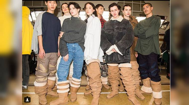 Paris Fashion Week 2018, Ugg boots, Y/ProjectxUgg, Y/Project, Jeremy Scott, Kate Moss, Selena Gomez, Jennifer Aniston, trendy footwear, bizarre footwear, celeb fashion, hollywood fashion, indian express, indian express news