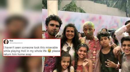 pharell williams, pharell williams in india, pharell williams playing holi, pharell williams and ranveer singh, ranveer singh pharell williams holi jokes, pharell williams memes and jokes in india, indian express, indian express news