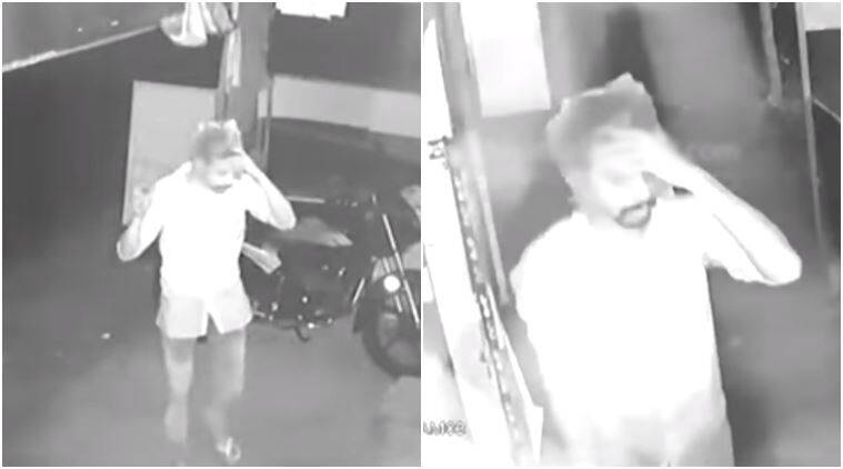 thief with plastic bag, plastic bag over Tamil Nadu thief's head, tamil nadu thief with plastic bag covering head, tamil nadu thief covers head with plastic bag hilarious video, hilarious videos, viral videos today, Indian Express, Indian Express news