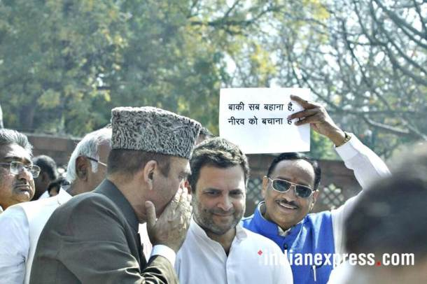 congress protest photos, rahul gandhi pics, pnb scam cong protest images, parliament adjournment images, congress protest outside parliament pictures, indian express