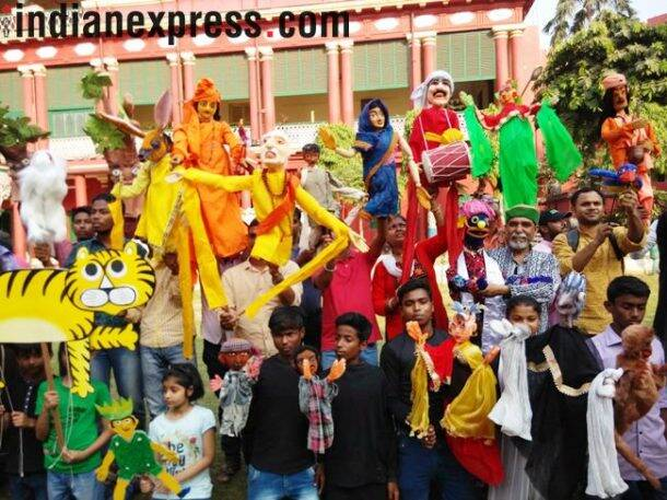 world puppet day, puppet day, puppet show, kolkata putte show, West Bengal Academy of Dance Drama Music and Visual Arts, Ranbindra Bharti University, Puppet Mancha, Puppet theatre, glove puppets, rod puppets, string puppets, shadow puppets, indian express, indian express news