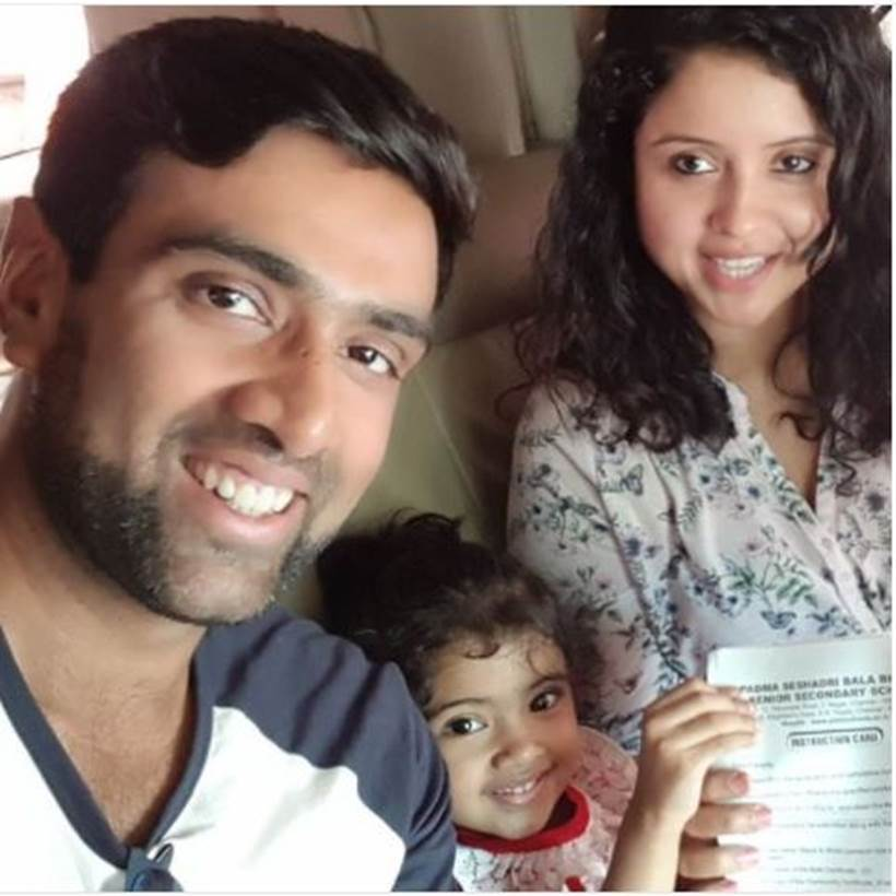 Ravichandran Ashwin with his family.