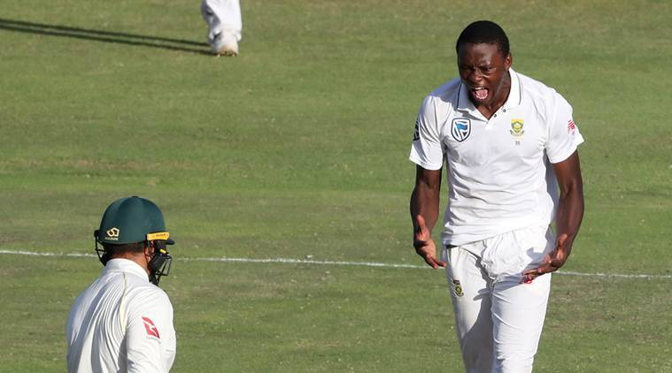 Kagiso Rabada celebrates after taking a wicket in the second Test
