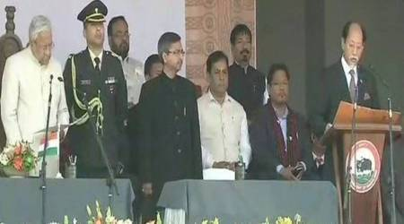 nagaland chief minister, nagaland cm swearing in, nagaland election results, Neiphiu Rio takes oath, nagaland new cm, NDPP leader Neiphiu Rio,