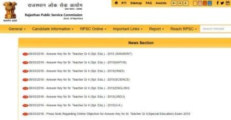 rpsc sr teacher answer keys, rpsc senior teacher exam answer keys, rpsc.rajasthan.gov.in