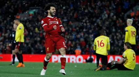 Mohamed Salah scores four, takes Liverpool to third