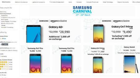 Samsung Carnival on Amazon: Deals, discounts on Galaxy Note 8, Galaxy A8+, On7 Prime, etc