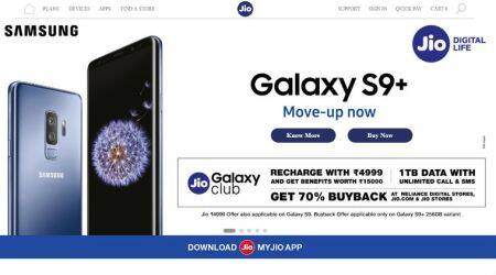 Samsung Galaxy S9+ 256GB variant with 70% Buyback offer at Reliance Digital, Jio store, Jio online