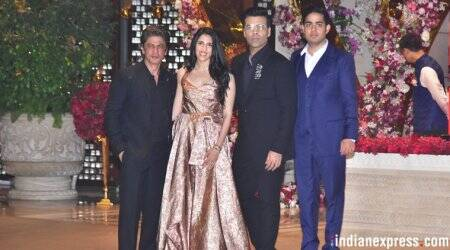 shah rukh khan, karan joahr at akash amabani party