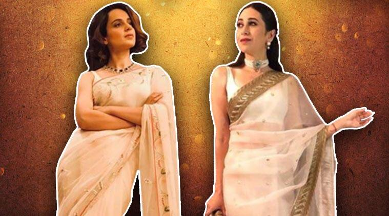 sheer saris, bollywood sheer saris, semi-sheer sari, bollywood semi-sheer saris, Kangana Ranaut, Karisma Kapoor, Manushi Chhillar, Shilpa Shetty, Ileana D'Cruz, Shriya Sharan, Mashuri Dixit, celeb fashion, bollywood fashion, indian express news
