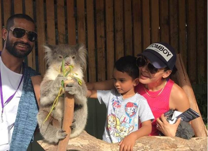 Shikhar Dhawan spending time with family