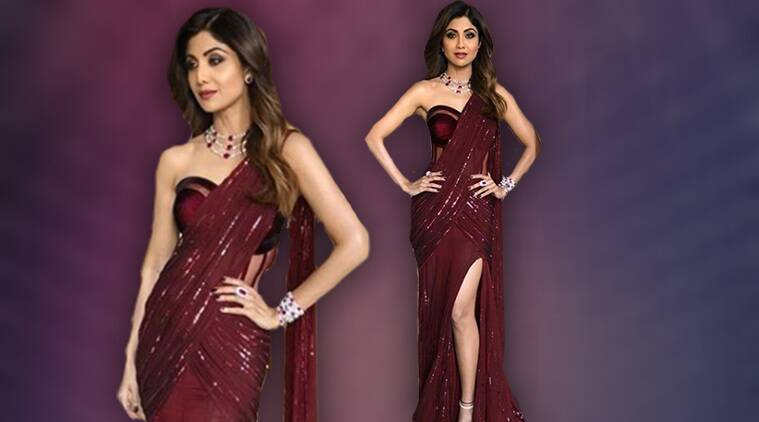 Shilpa Shetty\'s love for sari-gowns reaches new heights; stuns in ...