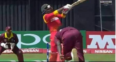 Zimbabwe's Solomon Mire retires hurt after being hit by a bouncer in theeye