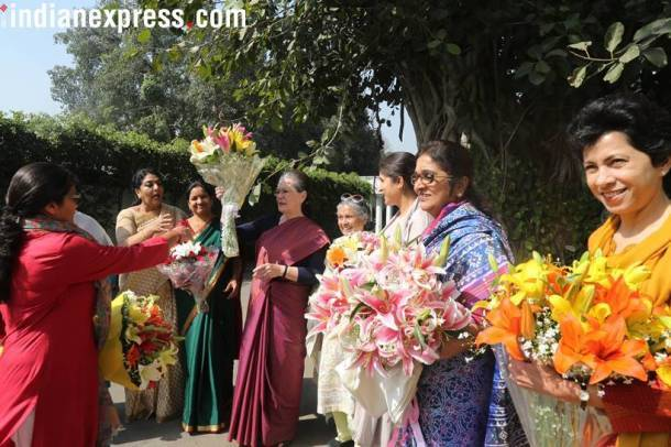 Sonia Gandhi, Congress, International Womens Day, Womens Day photos, Indian Express