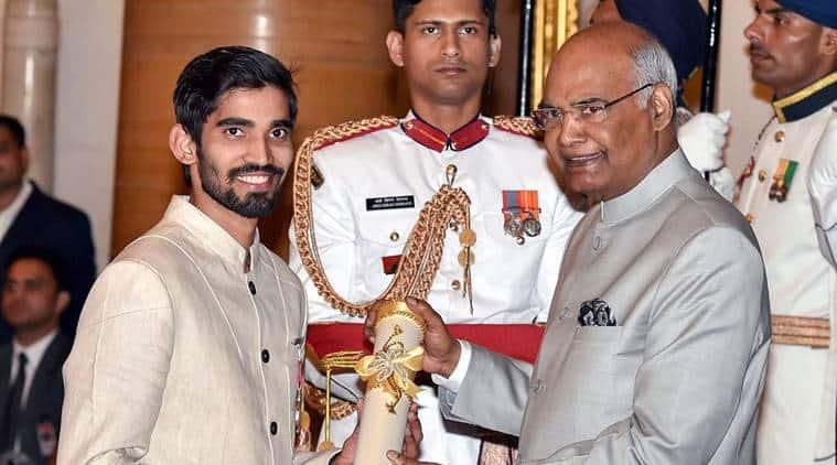 Kidambi Srikanth awarded the Padma Shri at the Rashtrapati Bhavan by President Ram Nath Kovind