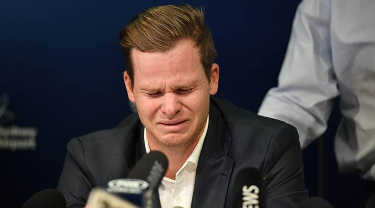 Image result for smith in tears ball tampering cricket images