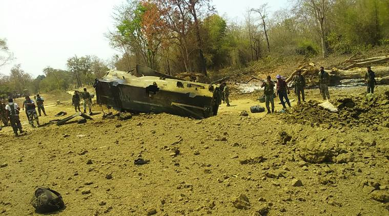 At least nine personnel of the 212 Battalion of the Central Reserve Police Force (CRPF) were killed in a powerful IED blast by Maoists in Chhattisgarh's Sukma district on Tuesday. (Express photo)