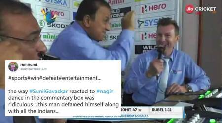 sunil gavaskar, naagin dance, sunil gavaskar nagin dance, Nidahas Trophy 2018, Mushfiqur Rahim, ind vs ban, viral news, indian express