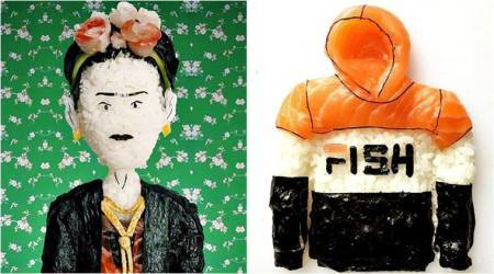 sushi art, sushi designs, food designs, weird sushi designs, theonigiriart Instagram, sushi chef, trending pictures, viral pictures, Indian Express , sushi art yujia hu
