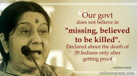 Indians killed in Iraq: Never gave any false hope to anyone, says Sushma; Opposition says govt 'insensitive'