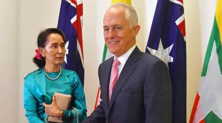 Myanmar leader Aung San Suu Kyi welcomed to Australian Parliament House