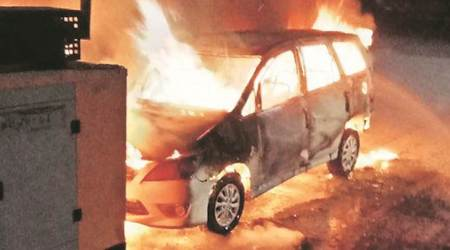 Punjab: Congress leader's SUV set on fire, gangster booked forintimidation