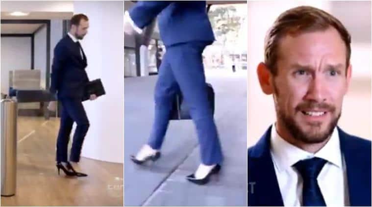 men wear heels, men in heels, man wears heels, men high heels, men fashion, breaking gender style, indian express, viral videos,