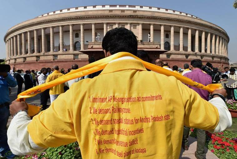 TDP members demand special status for Andhra Pradesh outside Parliament