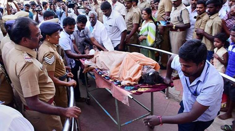 An injured trekker being rushed to a government hospital in Theni district on Monday. (PTI)