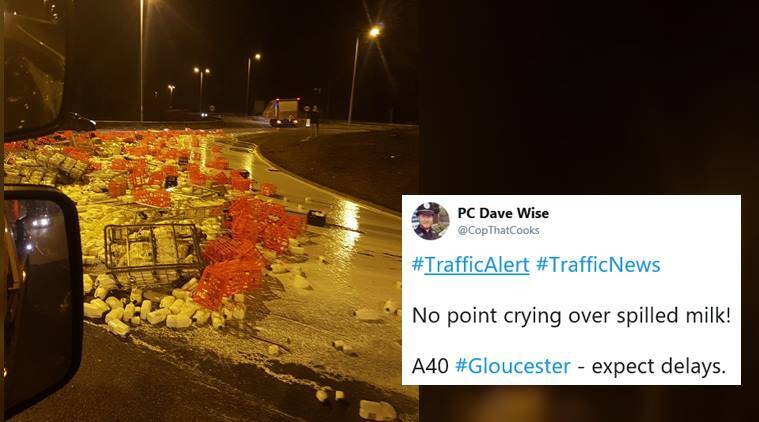 A dairy truck accidentally spilled milk on UK streets, and a cop started a punny affair!
