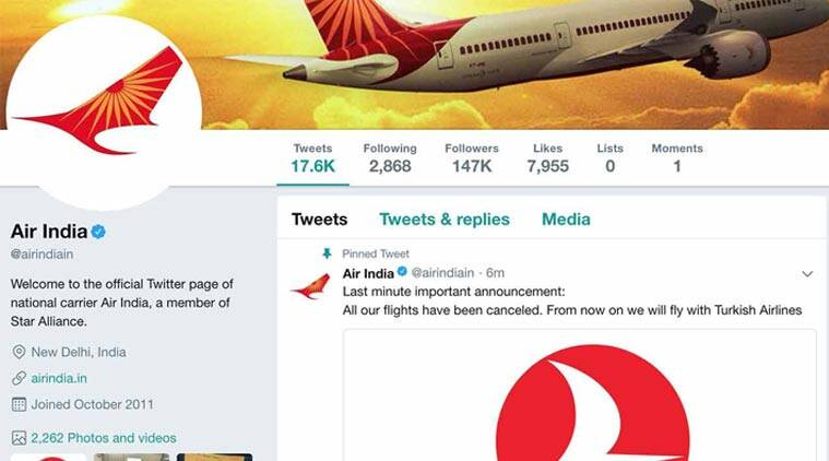 Air India Twitter account was hacked. Hackers announced end to all flights