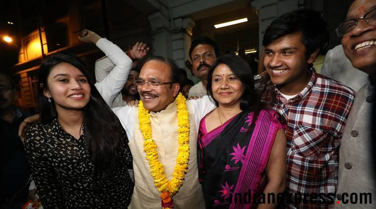 BJP candidate Anil Jain celebrates his victory with his family. (Express photo/Vishal Srivastav)