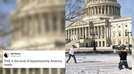 Two US Senators had a snowball fight outside the Capitol and it brightened Twitterati's day