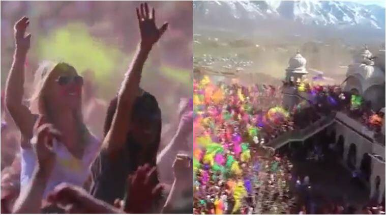 holi, holi videos, holi celebrations, utah holi celebration, iskcon holi, us holi celebration, americas biggest holi celebration, utah iskcon holi video, viral videos, indian express, viral news, trending news