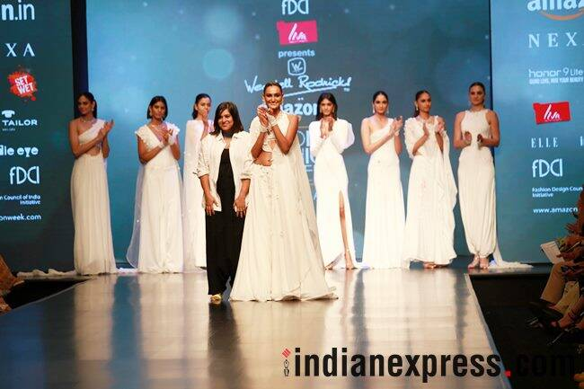 Amazon India Fashion Week AW'18, AIFW 2018, AIFW Day 3, Anju Modi, Shivan and Narresh, Nida Mahmood, Wendell Rodricks, Pinnacle by Shruti Sancheti, Esha Amiin, Gaurav Jai Gupta, celeb fashion, bollywood fashion, indian express, indian express news