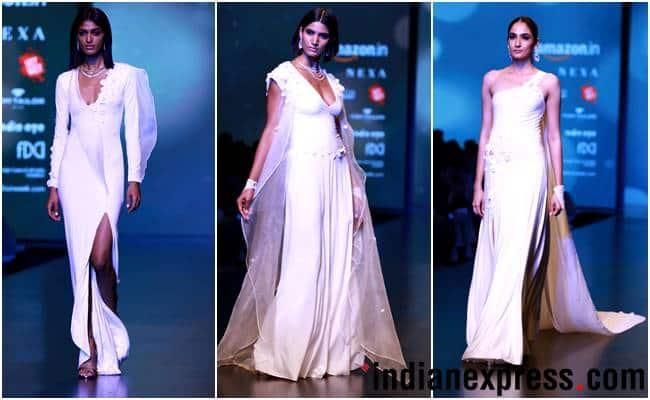 Amazon India Fashion Week AW'18, AIFW 2018, AIFW Day 3, Anju Modi, Shivan and Narresh, Nida Mahmood, Wendell Rodricks, Pinnacle by Shruti Sancheti, Esha Amiin, Gaurav Jai Gupta, celeb fashion, bollywood fashion, indian express, indian express news