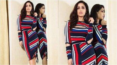 Yami Gautam shows how to look trendy in a colourful stripedoutfit