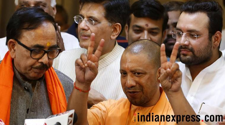Chief Minister Yogi Adityanath at the party headquarters in Lucknow on Friday. (Express photo/Vishal Srivastav)