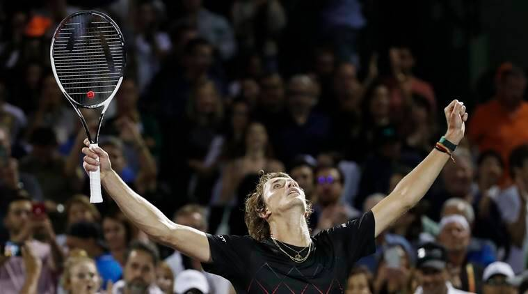 Alexander Zverev reacts after beating David Ferrer in Miami