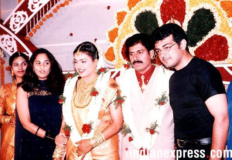 Ajith with wife Shalini at a wedding