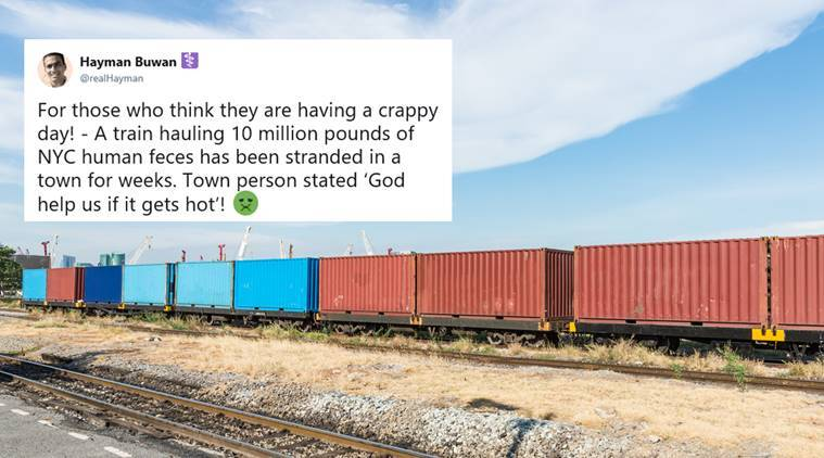 Yikes! Train carrying 10 million pounds of POOP stranded at a small